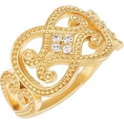 14K Yellow .06 CTW Diamond Granulated Ring