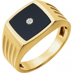 14K Yellow Men-s Onyx & .004 CTW Diamond Ring