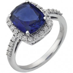 14K White Created Blue Sapphire & .07 CTW Diamond Ring