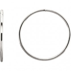 Sterling Silver 35mm Endless Hoop Tube Earrings