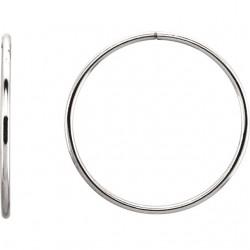 Sterling Silver 35mm Endless Hoop Tube Earrings