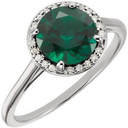 14K White ChathamB. Created Emerald and .05CTW Diamond Ring