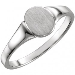14K White 7x6mm Solid Oval Signet Ring