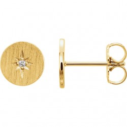14K Yellow .02 CTW Diamond Earrings