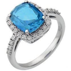 14K White Swiss Blue Topaz & .07 CTW Diamond Ring