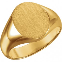 14K Yellow 12x10mm Oval Signet Ring
