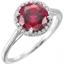 14K White ChathamB. Created Ruby and .05CTW Diamond Ring