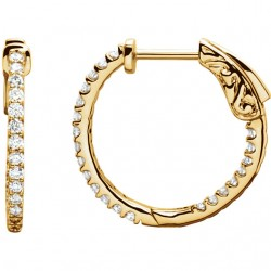 14K Yellow 1/2 CTW Diamond Inside/Outside Hoop Earrings
