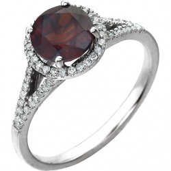 14K White Mozambique Garnet & 1/6 CTW Diamond Ring