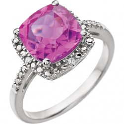 14K White Created Pink Sapphire & .03 CTW Diamond Ring