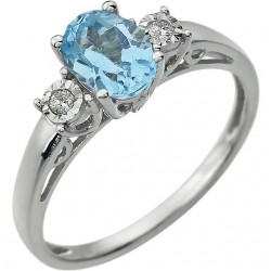 14K White Swiss Blue Topaz & .04 CTW Diamond Ring
