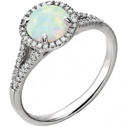 14K White Lab Grown Opal and 1/6 CTW Diamond Ring