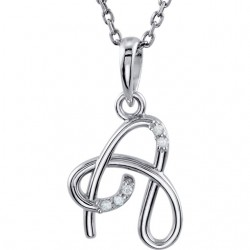 "Sterling Silver .03 CTW Diamond Letter ""B"" Script Initial 18"" Necklace"