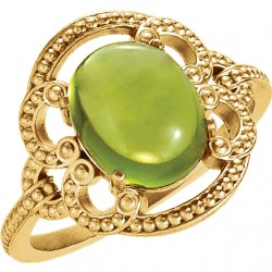 14K Yellow Peridot Granulated Design Ring