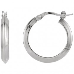 Sterling Silver 20mm Round Knife Edge Tube Style Hoop Earrings