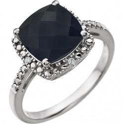 14K White Onxy & .03 CTW Diamond Ring