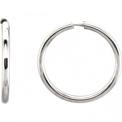 Sterling Silver 15mm Endless Hoop Tube Earrings
