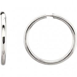 Sterling Silver 15mm Endless Hoop Tube Earrings