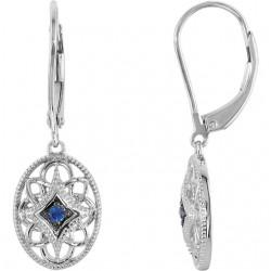 Sterling Silver Ruby Lever Back Earrings