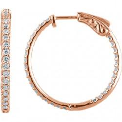 14K Rose 1 CTW Diamond Inside/Outside Hoop Earrings
