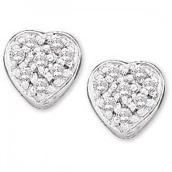 14K White 1/10 CTW Diamond Heart Earrings