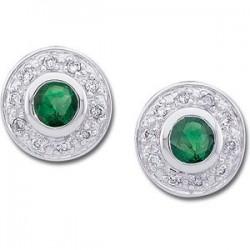 14K White 3.5mm Round Emerald & 1/10 CTW Diamond Earrings