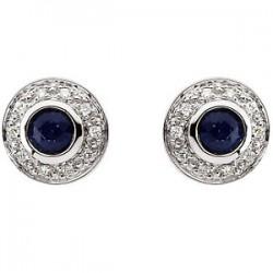 14K White 3.5mm Round Sapphire & 1/10 CTW Diamond Earrings