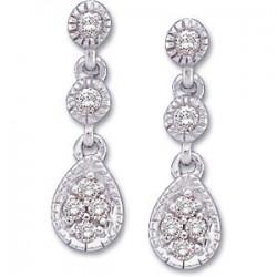 14K White 1/8 CTW Diamond Link Earrings