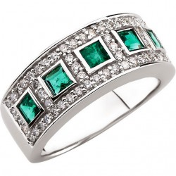 14K White Emerald & 3/8 CTW Diamond Ring