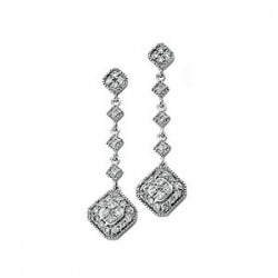 14K White 1/3 CTW Diamond Granulated Link Earrings