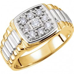 14kt White & Yellow 3/8 CTW Diamond Men-s Ring