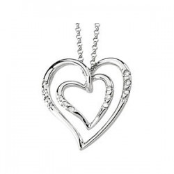 14K White 1/10 CTW Diamond Heart Necklace