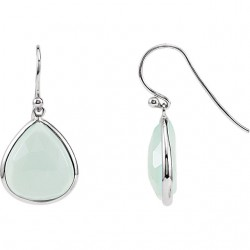 Sterling Silver Aqua Chalcedony Earrings