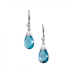 14K White Swiss Blue Topaz Earrings