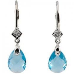14K White Swiss Blue Topaz & .025 CTW Diamond Earrings