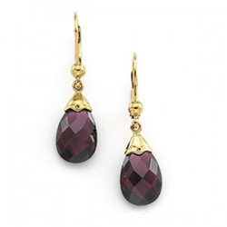 14K Yellow 12x8mm Briolette Brazilian Garnet Earrings