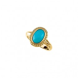 Turquoise Granulated Design Ring