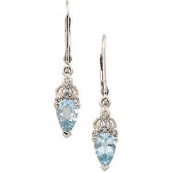 Aquamarine & Diamond Earrings
