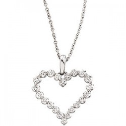 14K White 1 CTW Diamond Heart Necklace