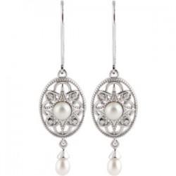 Sterling Silver Freshwater Cultured Pearl & .05 CTW Diamond Earrings