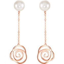 Freshwater Cultured Pearl Rose Earrings