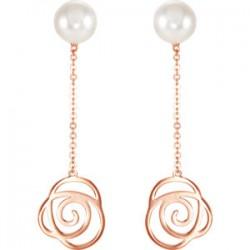 Freshwater Cultured Pearl Rose Earrings