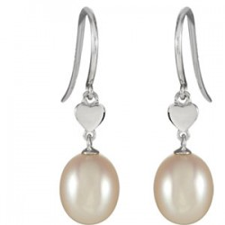 14K White Freshwater Cultured Pearl Dangle Earrings