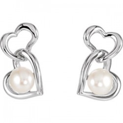 Freshwater Cultured Pearl Double Heart Earrings