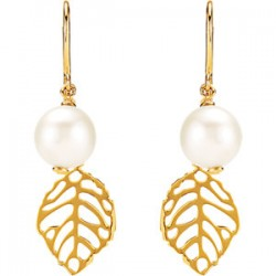 Freshwater Cultured Pearl Leaf Earrings
