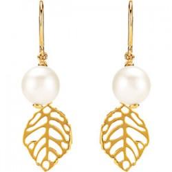 Freshwater Cultured Pearl Leaf Earrings