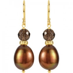 Freshwater Cultured Pearl & Smoky Quartz Earrings