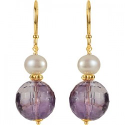 Amethyst & Freshwater Cultured Pearl Earrings