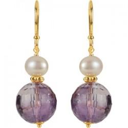 Amethyst & Freshwater Cultured Pearl Earrings