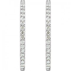 Sterling Silver Cubic Zirconia Inside/Outside Hoop Earrings